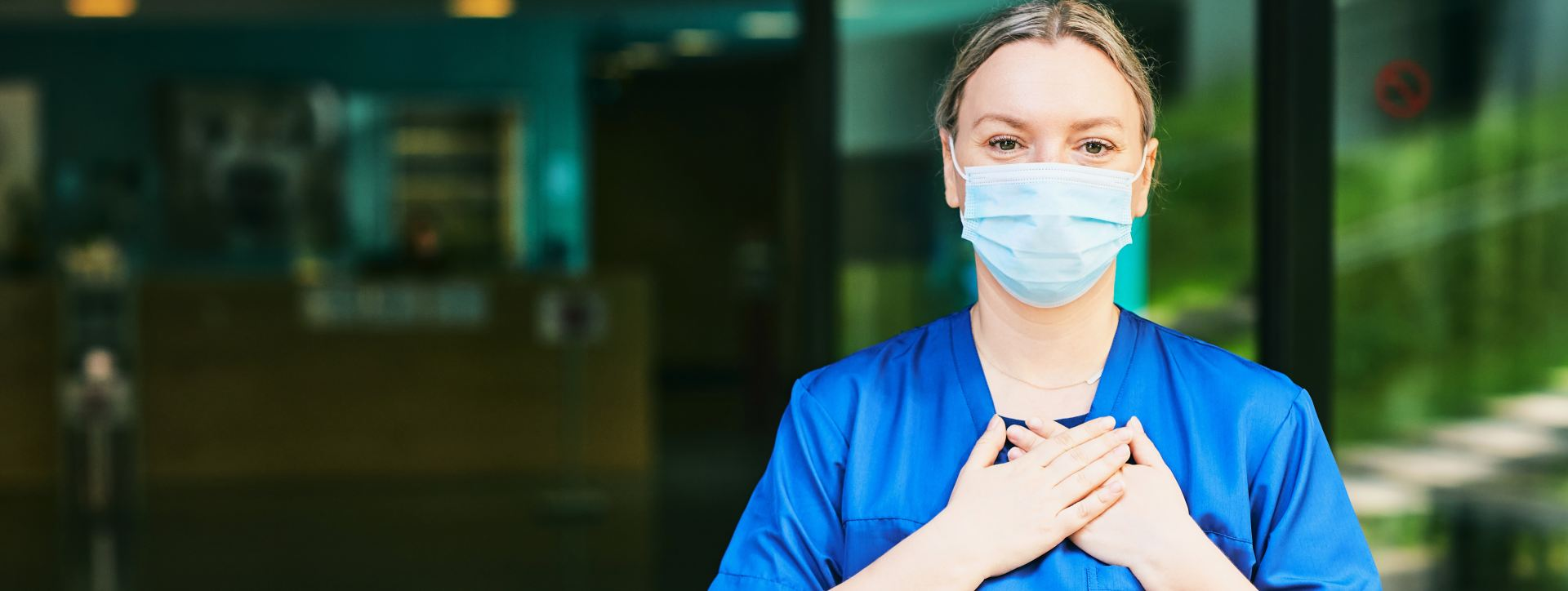 Nurse wearing a mask we are thankful for nurses and CNAs