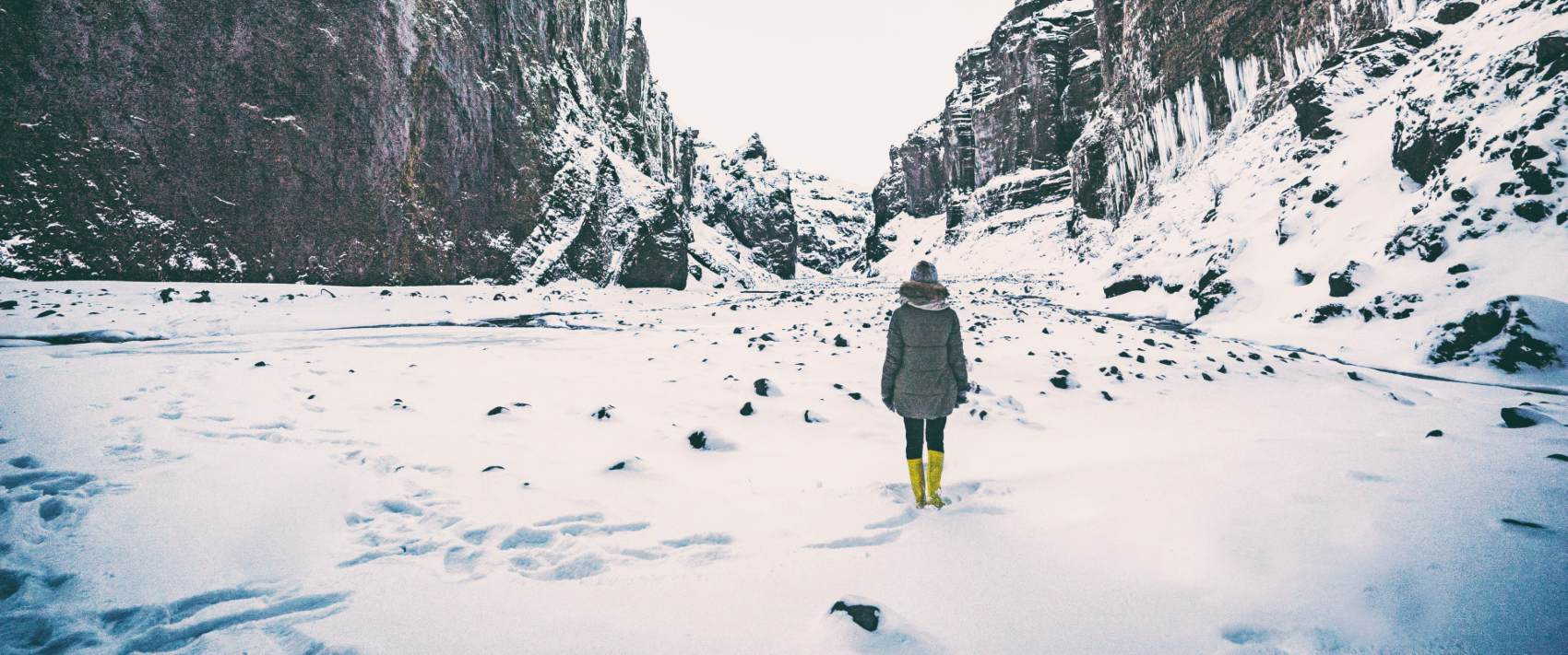 crisis response nurse trekking in the snow to get to work